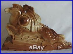 06c23 Ancienne Statue Femme Nue Sur Cheval Céramique Art Déco Signee Lemanceau