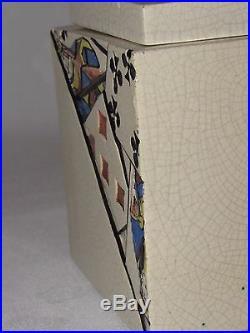 11c34 Ancien Pot Tabac Cartes A Jouer Art Déco Céramique Craquelée Lusca Adnet