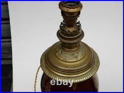 1880/1900' Paire de Lampes N3 en Ceramique et Bronze