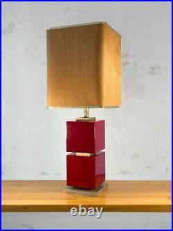 1970 GRANDE LAMPE LAQUE ART-DECO POST-MODERNISTE SHABBY-CHIC Mahey Pergay Jansen
