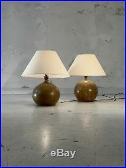 1970 La Borne 2 Lampes Moderniste Brutalist Forme-libre Ceramique Vallauris Gres