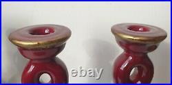2 bougeoirs CAB ceramique faience art deco ancien vintage rouge sang de boeuf