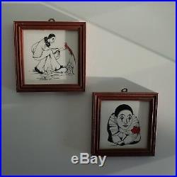 2 estampes Pierrot sur carreau de carrelage céramique montées sur cadre en bois