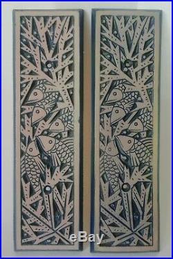 2 plaques décoratives céramique Art-Déco 1930 décor de Poissons MOUGIN Nancy