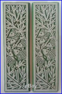 2 plaques en céramique de MOUGIN Nancy Poissons Art-Déco vers 1930 (non signées)