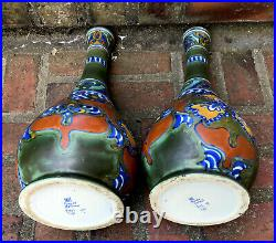 2 vases GOUDA HOLLAND faïence 619/3 DG 579 céramique Art Déco Nouveau Delft XXE