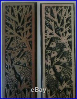 4 Plaques décoratives en céramique Poissons Art-Déco 1930 MOUGIN Lunéville