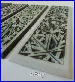 4 Plaques en Céramique Poissons Art-Déco 1930 MOUGIN Lunéville (non signées)
