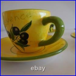 5 tasses + 6 soucoupes céramique faïence Provence art déco design XXe PN France