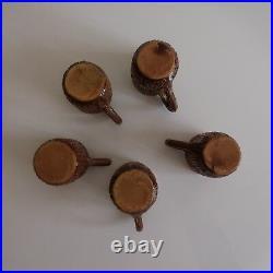 5 tasses céramique faïence barbotine fait main art nouveau déco PN France N3081