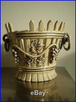 ANCIENNE PAIRE JARDINIERE FAIENCE DE LANGEAIS XIX°s CERAMIQUE DECO ART TABLE