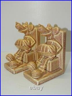 ANCIENNE PAIRE SERRE LIVRES CERAMIQUE MICKEY JOUANT BANDONEON 1930 ART DECO XXe
