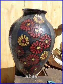 ANCIEN Grand VASE Art Déco fleurs SIMONOD Céramique Vernissée SAVOIE Signé SISPA