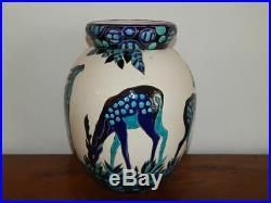 ANCIEN VASE Art Déco Céramique émaillée BOCH KERAMIS BELGUIM Décor BICHES