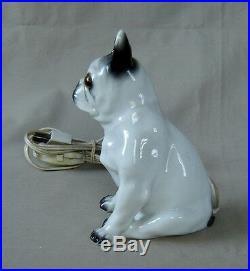 Adorable Lampe Veilleuse Bouledogue Yeux Sulfure Porcelaine Fonctionne Bel État