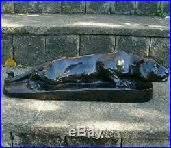 Alfred MARZOLFF (1867-1936) Belle céramique la Lionne à l'affût Soufflenheim