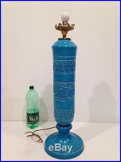 Ancien Grand pied de Lampe en Faïence craquelée Bleue Italy