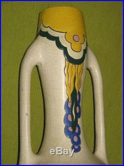 Ancien Imposant Vase émaux Art Déco céramique Belgique 1930