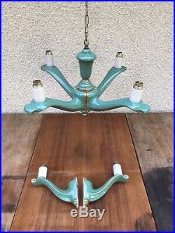 Ancien Lustre 4 Bras + 2 Appliques Céramique Laiton + Abat-Jour Perforé Vintage