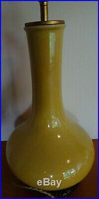 Ancien Pied De Lampe Ceramique Jaune Sur Socle En Bois Chine 1930 Deck