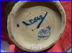 Ancien Vase Bosh Keramis La Louvière Grès Années 30 Art Déco Céramique Émaillée
