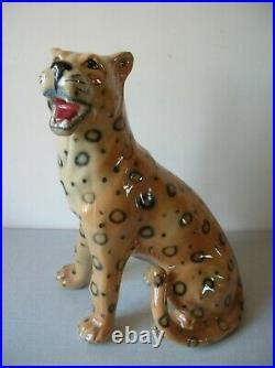 Ancien léopard en faïence céramique type Art Déco de 37 cm