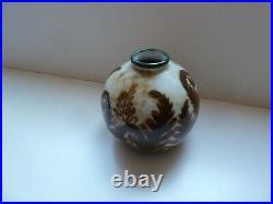 Ancien vase boule Camille Tharoud Art Deco ceramique Limoges années 30 fougères