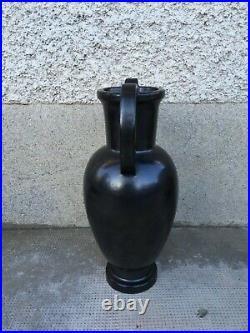 Ancien vase ceramique noire style bonifas art deco moderniste