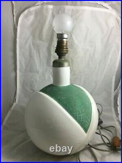 Ancienne Lampe Boule Robj Paris Art Deco Numerotee Ceramique Craquelee Geometrie