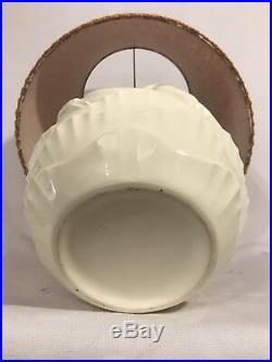 Ancienne Lampe Vase Boule ART DECO Céramique Crème + Abat-Jour Orange Vintage
