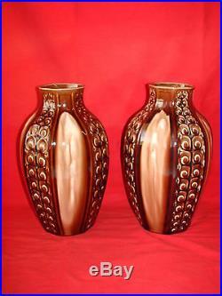 Ancienne Paire De Vases Art Deco Ceramique Fives Lille G. De Brun / Faience