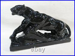 Ancienne Sculpture Panthere En Ceramique Noire Art Deco 1930 1940