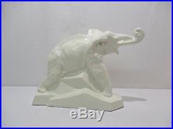 Ancienne Statue Animaliere Faience Craquelee Elephant Dolly Signe Lejan Art Deco