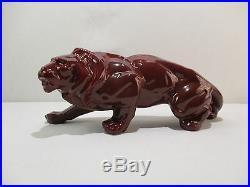 Ancienne Statue Animaliere Lion En Faience Ceramique Art Deco