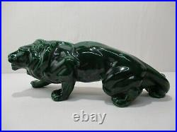 Ancienne Statue Animaliere Lion En Faience Ceramique French Art Deco Ceramic