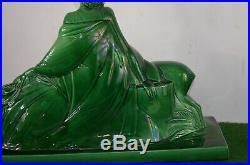 Ancienne Statue Art Deco Barbotine Faïence Céramique Numéroté Pas Bronze