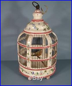 Ancienne Suspension Vintage Luminaire Cage A Oiseaux En Céramique Plafonnier