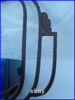 Ancienne coupe art déco 1930 céramique de sévres paul Millet monture fer forgé