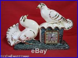 Ancienne horloge Art Déco Signée Rozay Pigeon Colombe Antique French