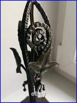 Ancienne lampe fer forgé art deco TBE daum muller luminaire 1930/1940 H 39 cm