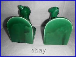 Ancienne paire de serre-livres Art Déco chat chien Création Val d'Or céramique