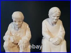 Ancienne paire de serre livres en céramique statuette signé RAFFOUR