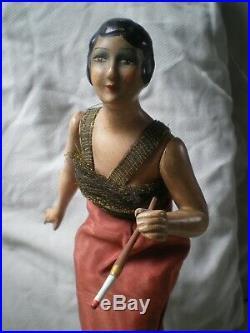 Ancienne poupée femme art deco en ceramique antique woman doll sculpture figure