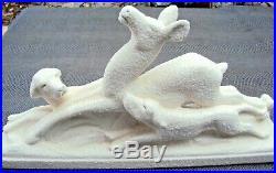 Ancienne sculpture art-déco en céramique grainelée marque odyv