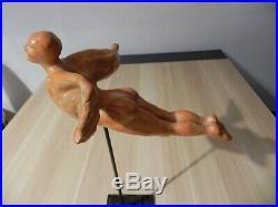 Ancienne sculpture céramique Art Nouveau Art Déco Signé