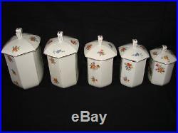 Ancienne série de pots à épices en céramique art deco Faience porcelaine