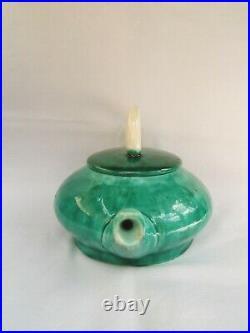 Ancienne théière en céramique émaillé SAINTE RADEGONDE art déco