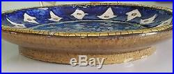Andre Metthey Assiette Ceramique Emaux Bleus Et Dorure Craquelee Art Deco