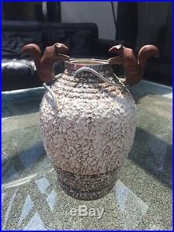 André Villien Art Déco vase en céramique, garniture en bronze argenté 1930