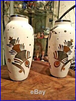 Art Déco 1925 Grande Paires Vase Céramique Fleurs Or